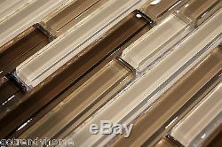 10sf neutral brown glass mosaic tile kitchen backsplash wall bathroom shower spa flooring tiles building hardware