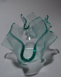 Handkerchief Votive, recycled glass