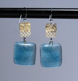 Recycled Glass and Brass Earrings