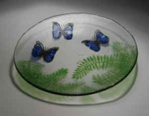Butterfly and Ferns Recycled Glass Bowl