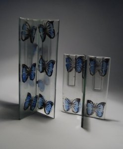 Recycled Glass Vases with Butterflies