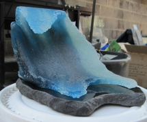 Recycled Glass Wave Sculpture