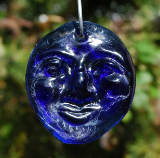Recycled cobalt blue bottle glass 'Moon' suncatcher.