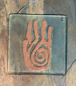 Petroglyph Hand in Recycled Glass and Red Sand