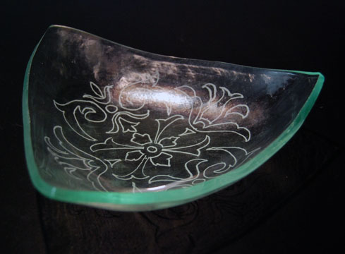 Engraved Recycled Glass Dish - Created for Celtic Bank