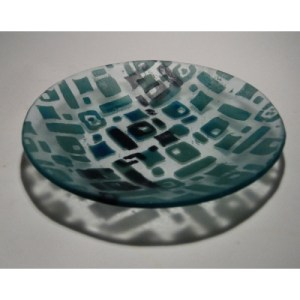 Aqua and Black Recycled Glass Bowl