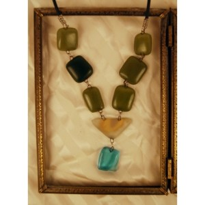 Recycled window and Bottle Glass Necklace
