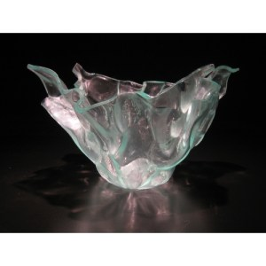 Recycled vintage tulip glass vase