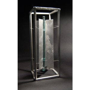 Recycled Table top glass and aluminum sculpture