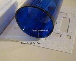 Blue Bottle on Fiber Paper for Kiln Carving