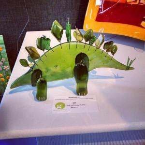 fused glass stegosaurus
