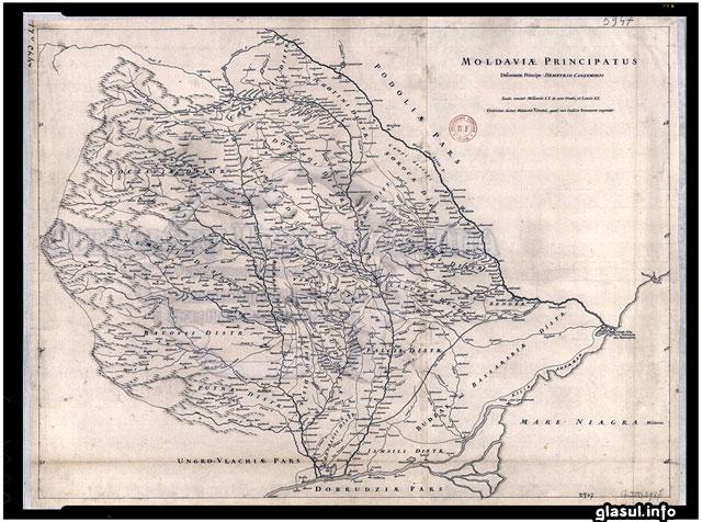 Harta Moldovei realizata de Dimitrie Cantemir (1737)