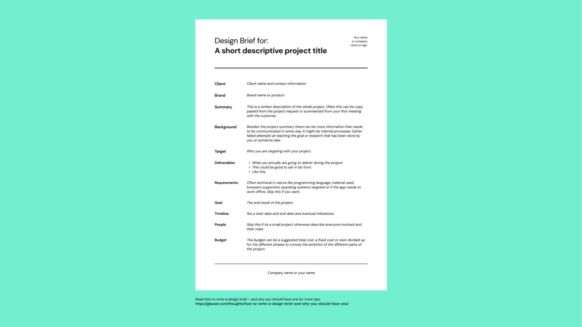 Download Free Design Brief Template