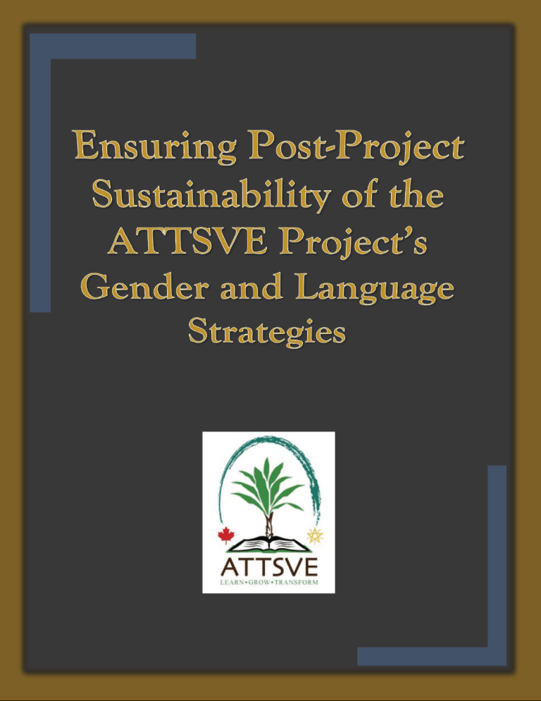 Ensuring Post-project Sustainability of the ATTSVE Project's Gender and Language Strategies