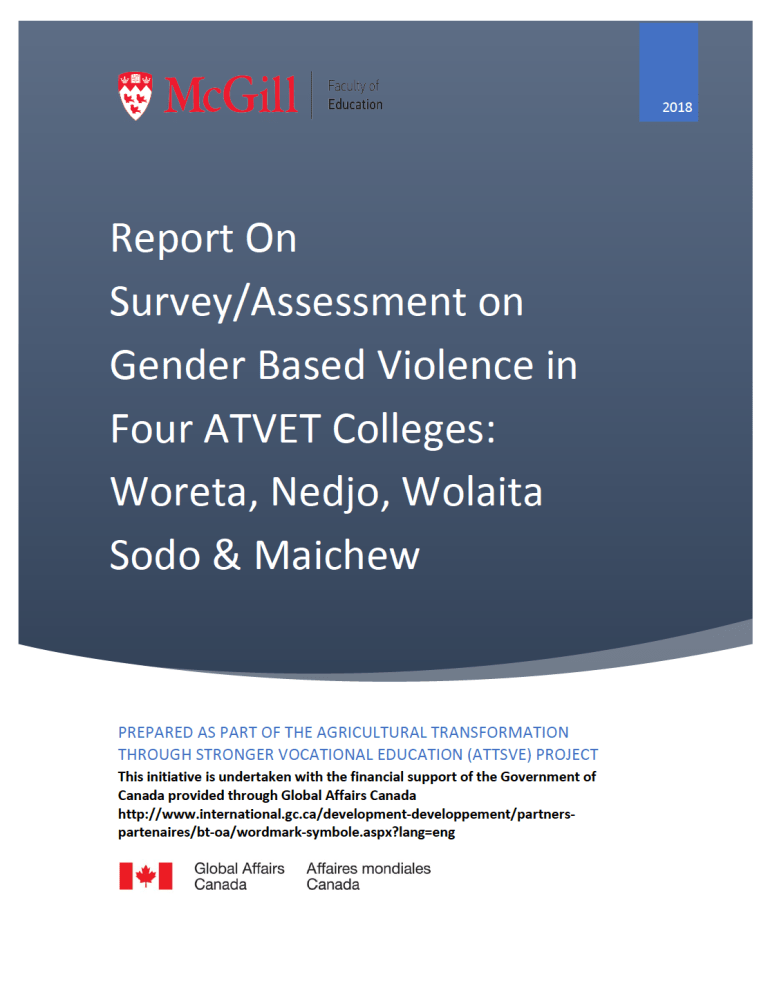 Report On Survey/Assessment on Gender Based Violence in Four ATVET Colleges: Woreta, Nedjo, Wolaita Sodo & Maichew