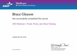 Bruce Gleason Medicare Certification