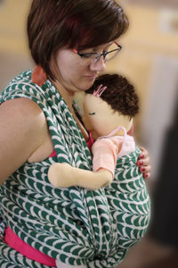 Babywearing with Emma doll