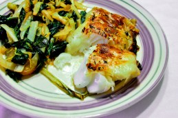 Potato Wrapped Halibut with Swiss Chard