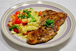 Steak with Asparagus & Tomatoes Orzo Salad
