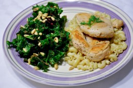 Chicken over Creamy Macaroni & Cranberry Kale Salad