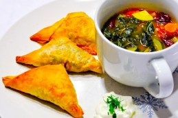 Samosas with Kale Soup