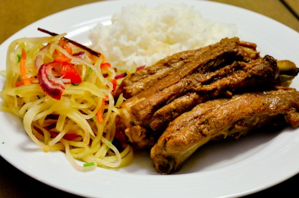 Soysauced Ribs with Green Papaya Salad