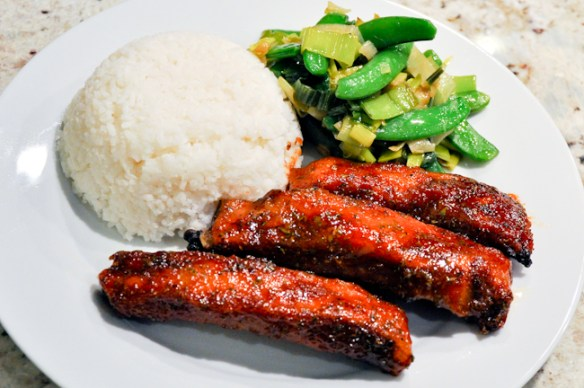 BBQ Ribs with Sugar Snaps