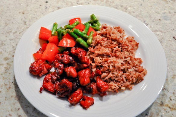 Chicken Tocino with Red Rice