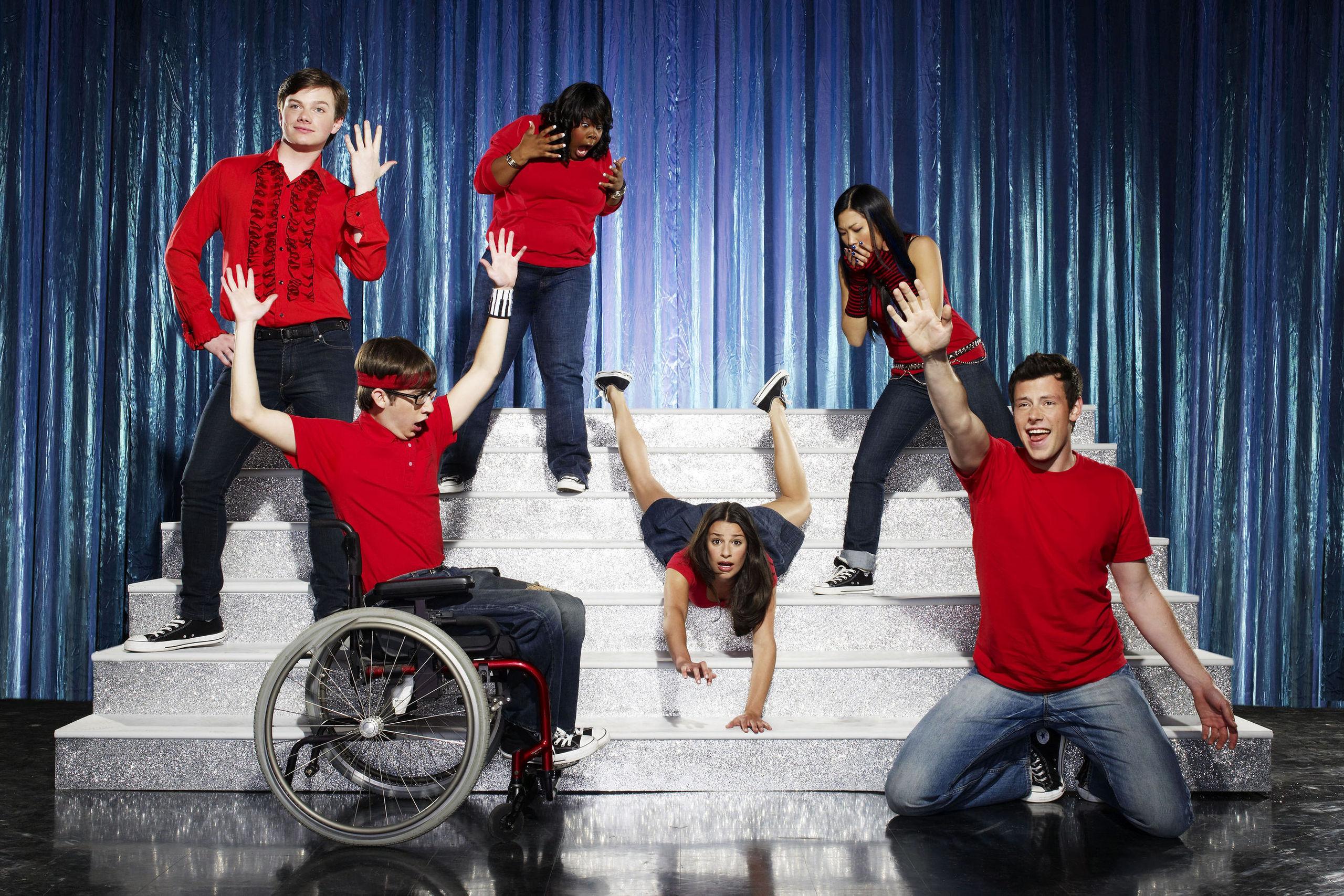 The original Gleeksters, clockwise from top left: Kurt Hummel, Mercedes Jones, Tina Cohen-Chang, Finn Hudson, Rachel Berry, Artie Abrams