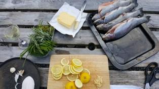 Fresh herbs, lemon and butter.