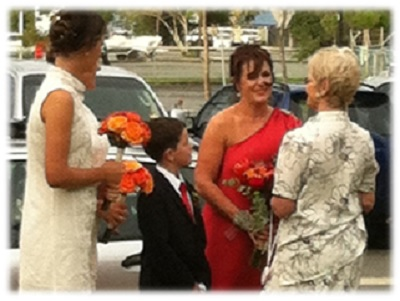 Glenda greeting bride