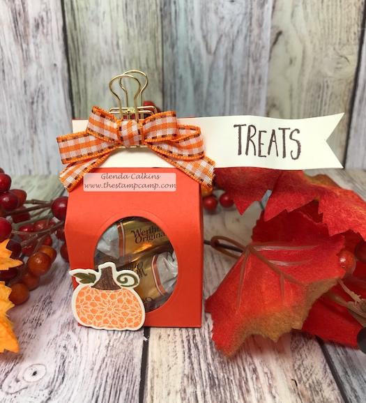 Martha's Pumpkins, glendasblog, the stamp camp, treat holder