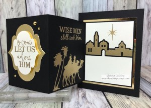 Adore Him stamp set and die set from Fun Stampers Journey; makes the perfect fun fold card. This is a tri-fold or z-fold card. #FSJ, #christmas, #thestampcamp, #funfold
