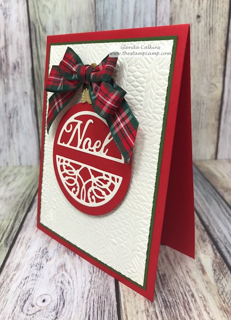 This darling ornament is from the Charming Tag die set from Spellbinders.  The background was embossed with the Cozy Knit embossing folder from FSJ.  Shop www.shop.thestampcamp.com #Christmas, #Spellbinders, #FSJ, #Christmas Card