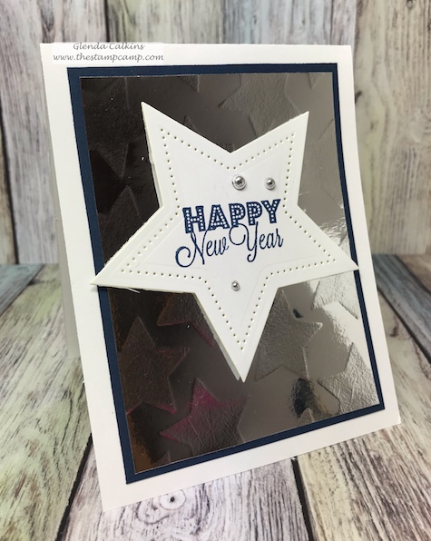 Happy New Year from Fun Stampers Journey with faux Stars embossing folder.  Super quick and easy to create.  details: www.thestampcamp.com #fsj, #newyear, #newyearseve, #thestampcamp