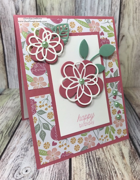 Blooming Details and Follow Your Heart Prints from Fun Stampers Journey.  The prints are so pretty in this pack and this cards makes me anxious for Spring. #fsj #thestampcamp #prints #cards