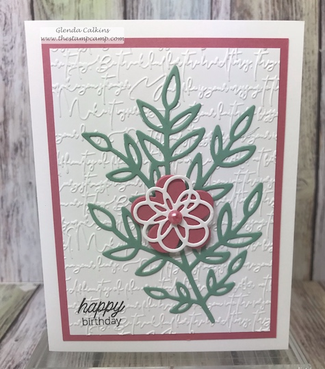 Blooming Details Die Set was the perfect flower to add to this simple card.  Using the Mini Greetings stamp set allowed for each of the 6 cards to have a different sentiment.  #thestampcamp #fsj #handmadecards #goodlife