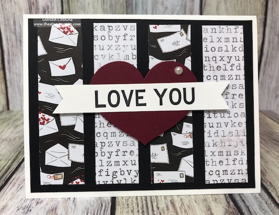 What do you do with left over printed paper strips?  There are lots of ways to incorporate those little strips onto your cards or projects. #fsj #cards #love #printedpapers