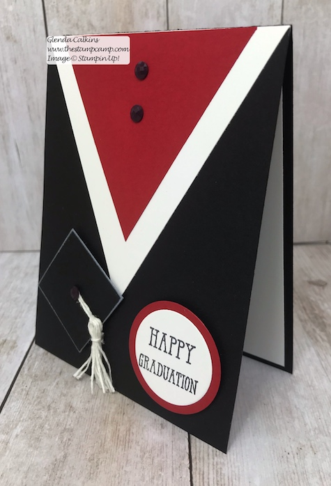 Graduations will be here soon are you ready?  You can create this fun and easy card in no time with just card stock and a stamp.  www.thestampcamp.com #stampinup #thestampcamp #graduation #cards