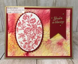 Another Brusho Crystal Colour Technique using embossing folders. Check out the Stamp Camp on Pinterest for different techniques. #thestampcamp #stampinup #techniques #brushocrystalcolours