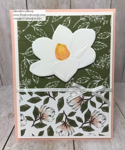 This is the Good Morning Magnolia stamp set from Stampin' Up! This beautiful flower can be colored in so many different ways. This was actually paper pieced using Designer Series Paper. See my Blog Here for details: https://wp.me/p59VWq-aav #stampinup #thestampcamp #magnolia #handmadecards #stamps