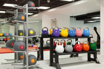 Gym Medicine Balls and Kettle Bells in the gym at a student residence.