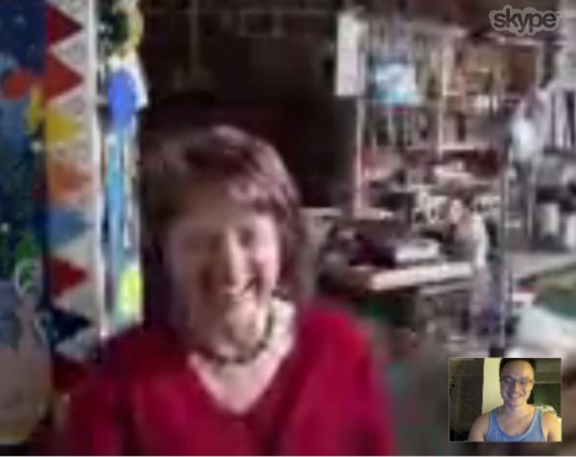 Incredibly pixellated Mum on Skype.