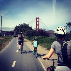 Cycling across the Golden Gate Bridge, San Francisco.