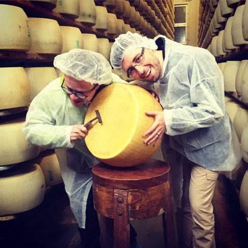 Percussing for gas imperfections. Parmigiano-Reggiano D.O.P. factory, Modena, Italia.