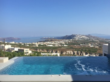 Day time view of Oia and Fira, @ My Santorini Villa.