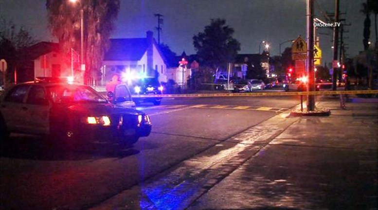 Photo of my street closed by police. Photo from KABC-TV News
