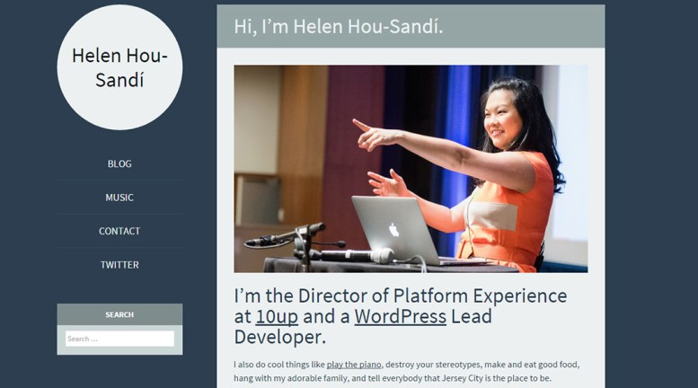 screen cap of Helen Hou-Sandí's website