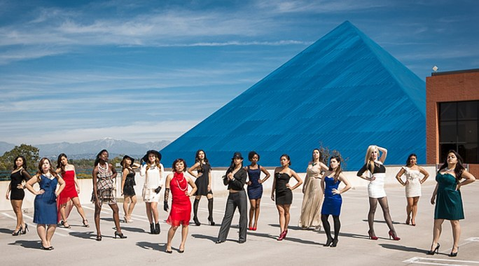 Photo of the Pac Modern team in front of the CSULB Blue Pyramid