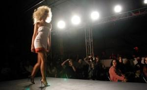 model walking down a runway
